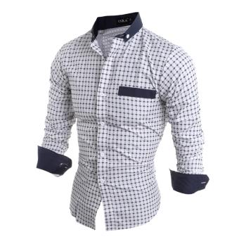 Mens Slim Fit Shirts Long Sleeve Formal Dress CasualT-shirt(White)L - intl - 3