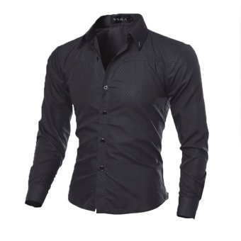Mens Slim Long Sleeve Dress Shirts(Black) (Intl)