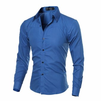 Mens Slim Long Sleeve Dress Shirts(Blue)