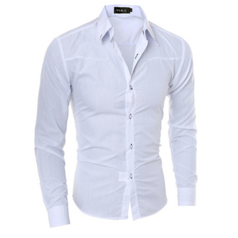 Mens Slim Long Sleeve Dress Shirts(White)