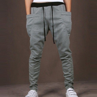 Mens Slim Sweatpants Harem Hip Hop Elastic Waist JoggersPants(Light Gray) - intl