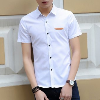 Mens Solid Short Sleeve Cotton Work Casual Button-Down ShirtsWhite (Intl)