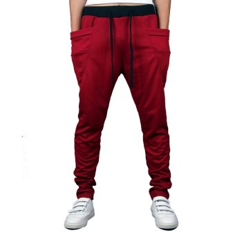 Mens Sweatpants Jogging Tracksuit Bottoms HIP HOP Jogger Sport Sweat Pants Red