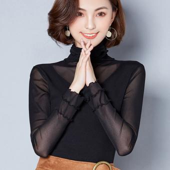 Mesh female thin long-sleeved t-shirt with high collar bottoming shirt (Black)