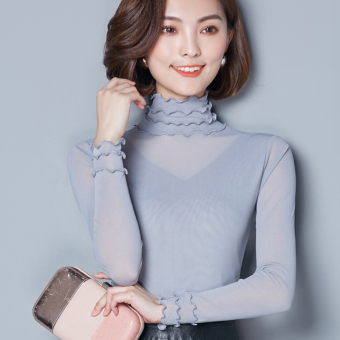 Mesh female thin long-sleeved t-shirt with high collar bottoming shirt (Gray)