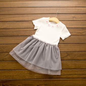Mesh girls New style short sleeved Baobao princess dress stitching skirt (Gray)