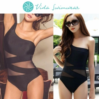 Mesh Monokini Classic One Side Off Shoulder One Piece Women's Swimsuit Swimwear