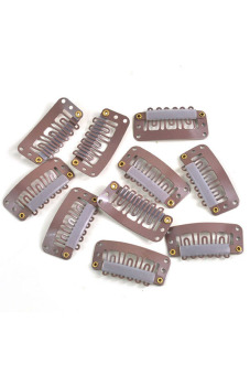 Metal Wig Snap Hair Clips Set of 10 (Light Brown) - picture 2