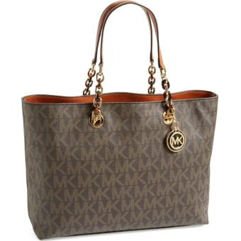 MICHAEL KORS Cynthia PVC Large Tote BROWN