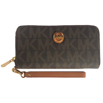 Michael Kors Fulton Signature Zip Around Wallet Brown