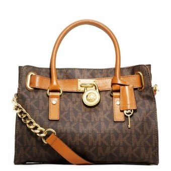 Michael Kors Hamilton MK Logo Satchel Bag (Brown)