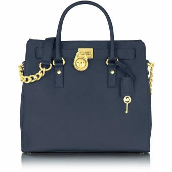 Michael Kors Hamilton Saffiano Leather Large Tote Bag - Navy Blue