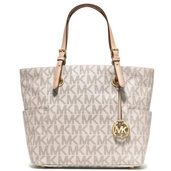 Michael Kors Jet Set East West Signature Tote Bag (Vanilla)