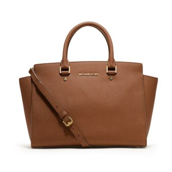 Michael Kors Large Selma Top-Zip Saffiano Satchel Bag (Brown)