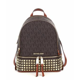 Michael Kors Rhea Zip Medium Studded Backpack - Brown