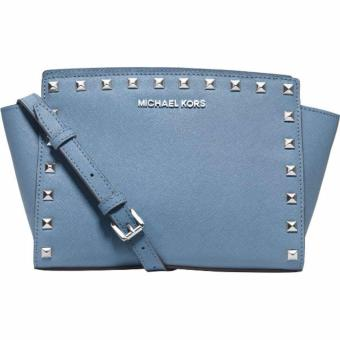 MICHAEL KORS Selma Medium Studded Leather Messenger INDIGO