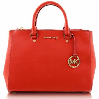 Michael Kors Sutton Saffiano Leather Large Satchel Handbag - Red