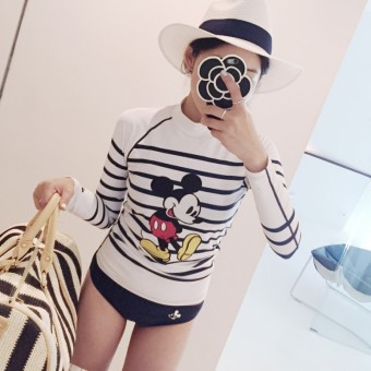 Mickey Mouse long-sleeved triangle pants adult children's swimsuit bikini (Female Models) Price Philippines