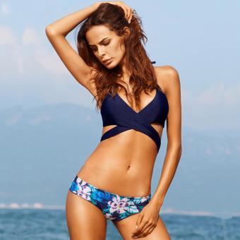 Midnight Floral Bikini Wrap Around Sexy Bikini Two Piece SwimwearSwimsuit - 2