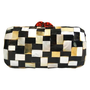 Mika and Gela Anthea Clutch Bag (Black/ White / Gold / Red)