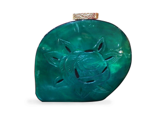 Mika and Gela Viridian Shell Clutch Bag (Turquoise)