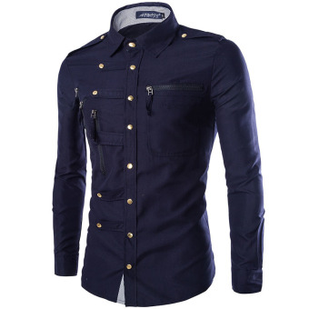 Military Style Slim Fit Brand Long Sleeve Shirt for Men (Navy blue) (Intl)