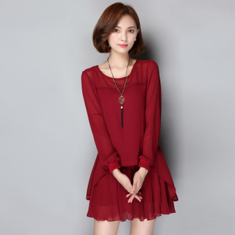 MM autumn New style long-sleeved loose dress chiffon dress (Wine red color)
