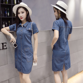 Mm European and American New style long section v-neck dress denim dress