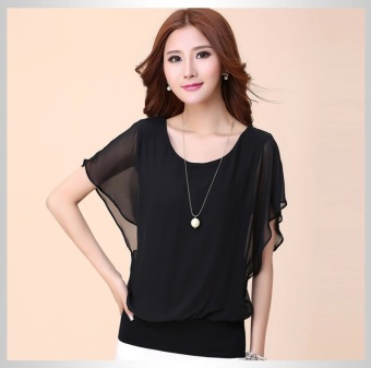 MM female Plus-sized extra-large T-shirt chiffon shirt (Black)