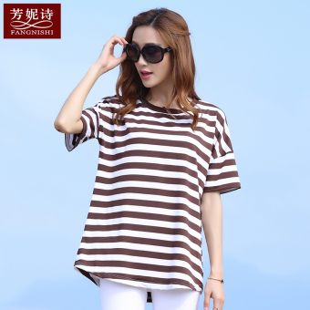 MM Korean-style cotton Striped short sleeved t-shirt Top (Brown white before long after short)
