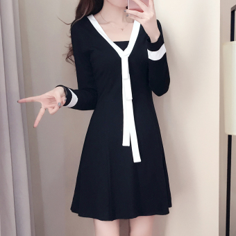 MM Korean-style New style mid-length Slim fit A-line dress Dress (Black (long sleeves))