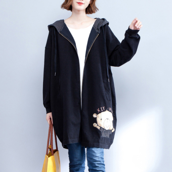 MM Korean-style Plus velvet thick hooded hoodie loose cardigan