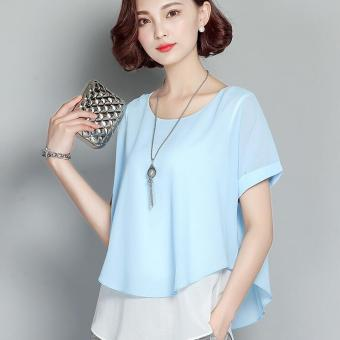 MM Korean-style short-sleeved female New style Women's Top chiffon shirt (Sky blue color)