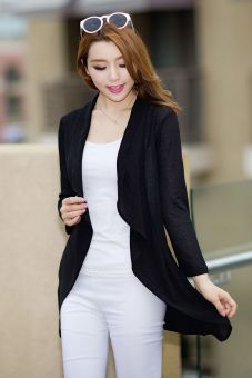 MM Korean-style spring and summer New style knit cardigan (Black) (Black)