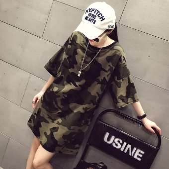 MM Korean-style spring and summer New style mid-length T-shirt (Dark green color) (Dark green color)
