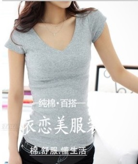 MM Korean-style white female round neck bottoming shirt T-shirt (Gray)