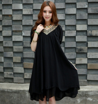 Mm large slimming skirt summer chiffon dress (Black)