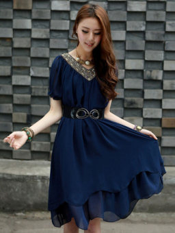 Mm large slimming skirt summer chiffon dress (Blue)