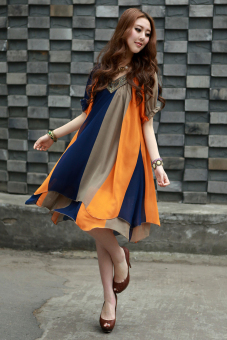 Mm large slimming skirt summer chiffon dress (Orange striped)