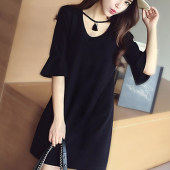 MM Plus-sized New style heart-shaped collar dress (Black) (Black)