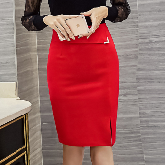 MM professional Plus-sized one-step Skirt (Red) (Red)