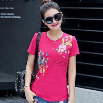 MM simple cotton white female short-sleeved t-shirt shirt T-shirt (3711 rose color)