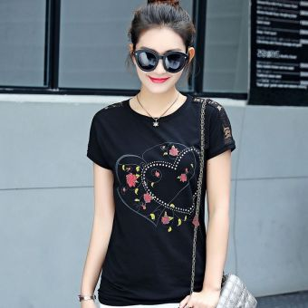MM simple cotton white female short-sleeved t-shirt shirt T-shirt (3713 black)