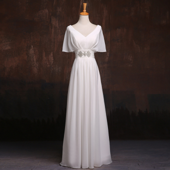 Mm thin long paragraph bride wedding dress bridesmaid dress (White)