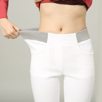 Mm white outerwear high-waisted thick pants Plus velvet bottoming pants (White pants)