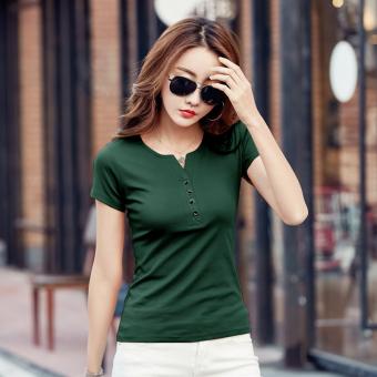 MM women Slim fit Short sleeve base shirt solid color short sleeved t-shirt (Dark green color)