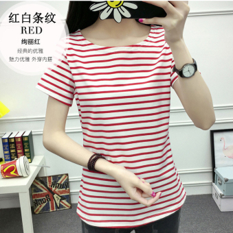 MM Women's cotton short-sleeved striped T-shirt (Fine red striped)