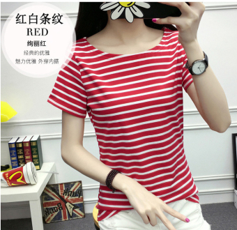 MM Women's cotton short-sleeved striped T-shirt (Thick red striped)