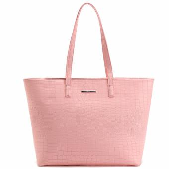 MNG Mango Croco Shopper Tote Bag (Pink)