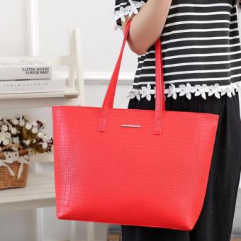 MNG Mango Croco Shopper Tote Bag (Red) - 2